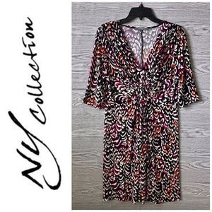 NY Collection | Mod Multicolor Floral Dress (L)